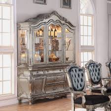 Living Room China Cabinet Acme 60544 Chantelle Antique Platinum Buffet With Hutch China Cabinet