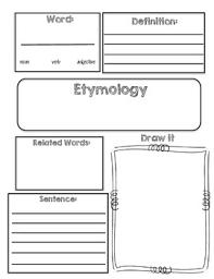 Word Origin Vocabulary Etymology Word Origin Graphic Organizer By Corey Funk