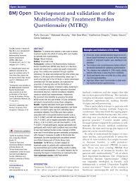 PDF) Development and validation of the Multimorbidity Treatment Burden  Questionnaire (MTBQ)