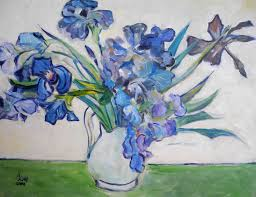 my 2009 acrylic copy of vase of irises by van gogh