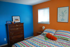 orange wall paintBlue And Orange Wall Color For Impressive Bedroom Ideas Using Two