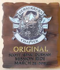 g13342 carved cedar wood plaque congratulating the winner of a motorcycle club race
