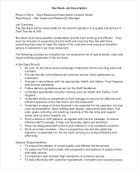 Bar Staff Job Description Sample Restaurant Manager Job Description 9 Examples In