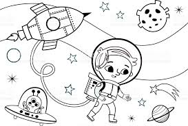 Small Picture Space Coloring Page For Kids stock vector art 646062516 iStock