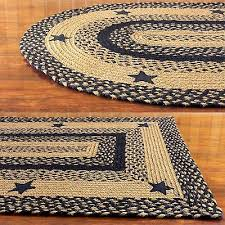 braided area rug black tan oval rectangle heart primitive country ihf star black