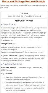 Restaurants Manager Resume 40 Restaurant Manger Resume Sample Fast Classy Resturant Manager Resume