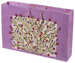 gift bags bulk handmade recycled 17 inch paper bag purple dried pressed natural flowers