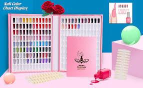 Nail Color Chart 216 Nail Color Chart Display Nail Gel Polish Display Book With 216 False Nail Tips Professional Salon Nail Color Swatches Nail Practice Card Design