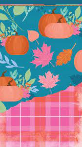 Fall Background with Pumpkins & Leaves ...