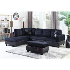undefined midnight blue microfiber and faux leather left chaise sectional with storage ottoman