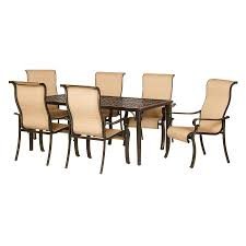 hanover outdoor furniture brigantine 7 piece brown metal frame patio dining set with harvest wheat