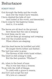 had to memorize this robert frost poem for a high school class  reluctance by robert frost