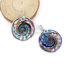 whole statement new design swirl lampwork glass pendant with metal edge made by hand box mc0004 silver necklaces diamond necklaces from xulinjewelry