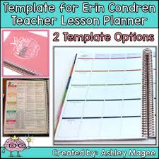 unit planner template for teachers erin condren teacher planner lesson plan template by mrs magee tpt