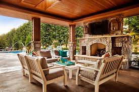 wood patio with pool. Luxury Pool Patio Decorating Ideas With Roof Near Large Stone Outdoor  Fireplace Complete Modern Wood Chairs Plus Cushions And Coffee Wood Patio Pool