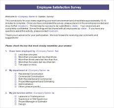 Sample Employee Questionnaire Employee Satisfaction Survey 15 Download Free Documents In Pdf