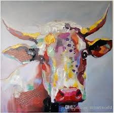2018 framed abstract cow cartoon high quality genuine hand painted wall decor abstract animal art oil painting on canvas multi sizes ali m h from myartworld