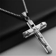 whole big and heavy chunky chain silver stainless steel jewelry crucifix new men s cross pendant necklace for men pendants gold necklace for