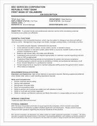 Bank Teller Resume Skills Beautiful Bank Teller Job Description For
