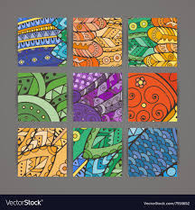 Intricate Patterns Awesome Set Of Four Colorful Intricate Patterns Royalty Free Vector