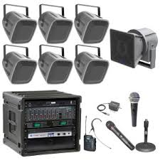 sound system. quick look football field sound system with 6 atlas fs series arena horns and crown power amplifier