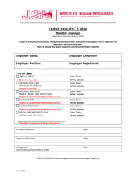 Fillable Online Jsu Form 36M Leave Request Form Monthly Employee ...