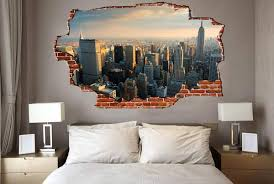 on new york skyline wall art stickers with breaking wall new york city skyline zapwalls