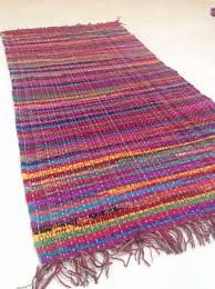 hand loomed multi coloured indian cotton chindi rag rug design a