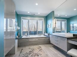 View in gallery Light-filled contemporary bathroom in blue and gray [From:  Interior Intuitions / Teri