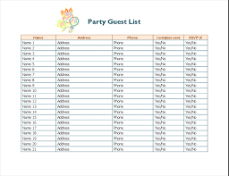 Party Rsvp Template Party Guest List