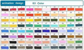 Ohuhu Color Chart Kirinstores 80 Colors Art Sketch Twin Marker Pens Broad Fine Point Dual Tip Animation Design