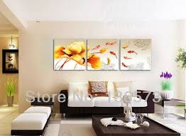 wall art ideas for living room hand painted modern red goldfish paintings green lotus flower canvas landscape pictures on the wall 3 piece art sets