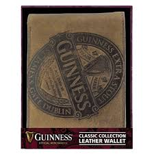 guinness brown leather wallet with clic collection label design