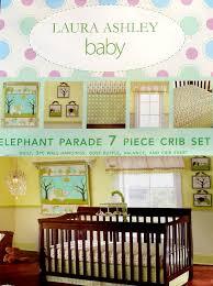 description new in original packaging laura ashley elephant parade crib quilt sheet ruffle valance art 7pc bedding set