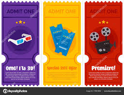 Cinema Ticket Flyer Set Stock Vector 3verokot 179513602