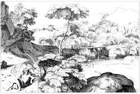 Landscape 17th Century Jacques Rousseau Lscapes Adult Coloring Pages
