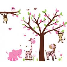 pink green safari wall art with tree wall decals for kids