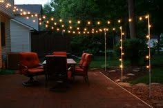 backyard string lighting. Hang Lights In This Pattern? Support Poles For Patio Made From Rebar And Electrical Conduit Backyard String Lighting B