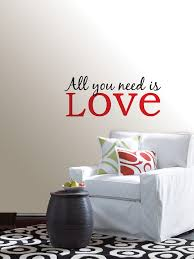 on wall art stickers love quotes with all you need is love quote wall art sticker
