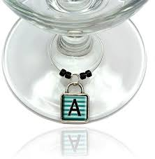 letter a initial black teal stripes wine glass silver charm contemporary wine charms