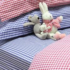 navy gingham fitted sheet with cardinal red duvet cover set