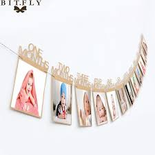 1 12 month baby photo frame birthday monthly banner garlands holder wall hanging rope folder kids