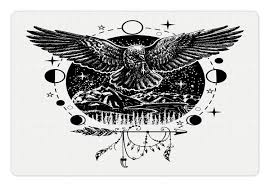 Amazoncom Lunarable Crow Pet Mat For Food And Water Sketch Tattoo
