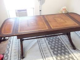 Industrial kitchen work island butcher block steel legs vintage workbench Have A Heritage Henredon Drop Leaf Coffee Table With A Leather Top Stamped My Antique Furniture Collection
