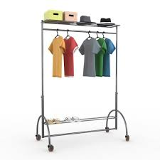 Metal Clothes Rack With Wheels Industrial Rolling Garment Rack