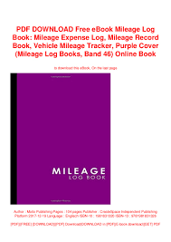 Pdf Download Free Ebook Mileage Log Book Mileage Expense