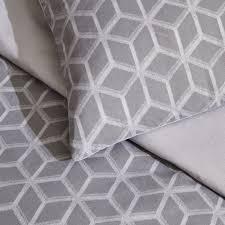 wilko geometric print grey double duvet set image 3