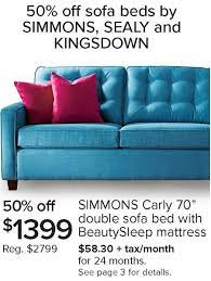 simmons carly 70 double sofa bed with
