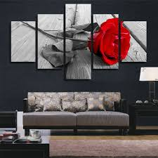 amazon h cozy art abstract art rose in black white red decorative wall decorative canvas print set of 5 no frame unframed fcr01 50 inch x30 inch  on wall art black white and red with amazon h cozy art abstract art rose in black white red