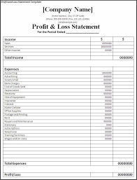 basic profit and loss template